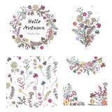 Doodle set with floral design elements and seamless patterns vector illustration
