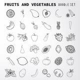 Doodle set. Fruit and vegetables doodle set. Set of elements suitable for your restaurant business. Set of elements 36 Stock Photos
