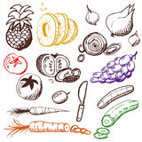 Doodle set - fruits and vegetables. Different doodles of fruits and vegetables Stock Image