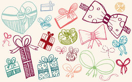 Doodle set - gifts and ribbons Royalty Free Stock Photos