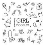 Doodle set of Girls items. Hand drawing styles of Girl items Royalty Free Stock Photography