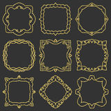 Doodle set hand drawn element for frames, logo, yoga, ethnic design. Gold, glitter, glitter. Set No. 12 of 9 items. Royalty Free Stock Images
