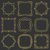 Doodle set hand drawn element for frames, logo, yoga, ethnic design. Gold, glitter, glitter. Set No. 10 of 9 items. Stock Photo