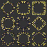 Doodle set hand drawn element for frames, logo, yoga, ethnic design. Gold, glitter, glitter. Set No. 8 of 9 items. Royalty Free Stock Photography
