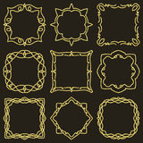 Doodle set hand drawn element for frames, logo, yoga, ethnic design. Gold, glitter, glitter. Set No. 5 of 9 items. Stock Photography