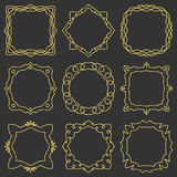 Doodle set hand drawn element for frames, logo, yoga, ethnic design. Gold, glitter, glitter. Set No. 6 of 9 items. Stock Photos