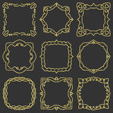 Doodle set hand drawn element for frames, logo, yoga, ethnic design. Gold, glitter, glitter. Set No. 3 of 9 items. Royalty Free Stock Images