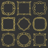 Doodle set hand drawn element for frames, logo, yoga, ethnic design. Gold, glitter, glitter. Set No. 11 of 9 items. stock illustration