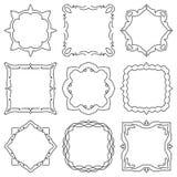 Doodle set hand drawn element for frames, logo, yoga, ethnic design. Set No. 17 of 9 items. Royalty Free Stock Image