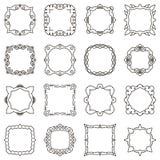 Doodle set hand drawn element for frames, logo, yoga, ethnic design. Set No. 1 of 16 items. Vector illustration vector illustration