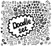 Doodle set hand drawn illustration with different symbols and forms stock illustration