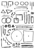 Doodle set hand drawn line and shapes Royalty Free Stock Photos