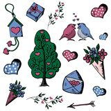 Doodle, Set of Hand Drawn objects Valentin Day. love tree, love. Birds, hearts, Cupid`s arrow, a Valentine, a birdhouse, a bouquet of flowers Stock Illustration