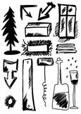 Doodle set hand drawn shapes Stock Photography