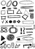 hand drawn shapes, circle, square , triangle Stock Images