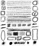 Set hand drawn shapes, line, circle, square Stock Photos
