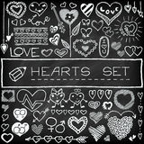 Doodle set of hearts and arrows Royalty Free Stock Photography