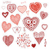 Doodle set of hearts.Heart of confetti, knitted hearts. Stock Image