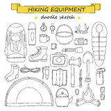 Doodle set of hiking and camping equipment. Tourism icons Royalty Free Stock Images