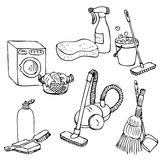 Doodle set for home cleaning Stock Photos