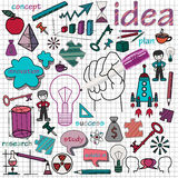 Doodle set of icons symbol idea. Infographics elements hand-drawn Stock Photo