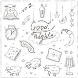 Doodle set of images about good night Stock Photography