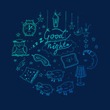 Doodle set of images about good night Stock Photos
