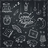 Doodle set of images about good night Stock Photo