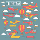 Doodle set of images Time to travel Royalty Free Stock Photos