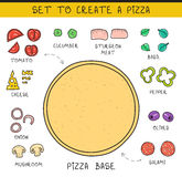 Doodle set of ingredients to build  pizza. Template pizza Royalty Free Stock Photos