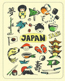 Doodle set of Japan. Doodle set the most famous objects of in Japan. Vector Illustration royalty free illustration