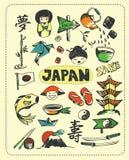 Doodle set Japonia royalty ilustracja