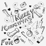 Doodle set for Merry Christmas celebrations. Royalty Free Stock Image