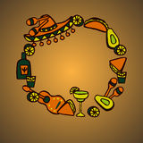 Doodle set of Mexican elements. Cinco de mayo elements, mexico fiesta Stock Photography