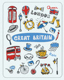 Doodle set the most famous objects of in England. Vector Illustration Stock Images