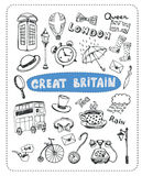 Doodle set the most famous objects of in England. Vector Illustration Royalty Free Stock Photo