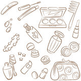 Doodle set with nature beauty cosmetics Royalty Free Stock Images