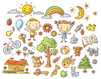 Free Doodle Set Of Objects From A Child S Life Stock Image - 50549291