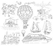 Doodle set with old and modern means of transport Stock Images