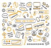Doodle set online lekcje Zdjęcie Stock