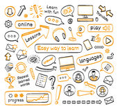 Doodle set of online lessons. Vector hand drawn sketch icons in black and orange colors. Isolated on white background Stock Photo