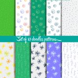 Doodle. Set of 10 doodle patterns, vector eps 10 Royalty Free Stock Image