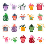 Doodle set of presents, ribbons, stars. Royalty Free Stock Image