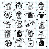 Doodle set of presents, ribbons, stars. Stock Photography