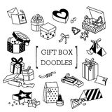 Doodle set prezentów pudełka Fotografia Royalty Free
