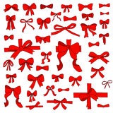 Doodle set of red bows, ribbons Royalty Free Stock Photography