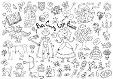 Doodle set with royal prince and princess concept and accessories Royalty Free Stock Photography