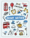 Doodle set sławni przedmioty w Anglia ilustracja wektor