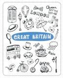 Doodle set sławni przedmioty w Anglia royalty ilustracja