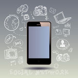 Doodle set of smart phone Stock Photography